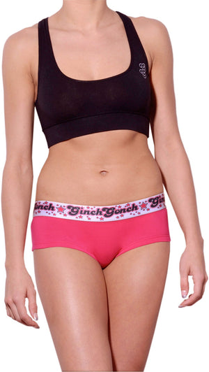 GG Ginch Gonch Mean Pink women's boy cut brief underwear cheeky gogo with pink fabric with black, white, and pink printed waistband front shown with black sports bra
