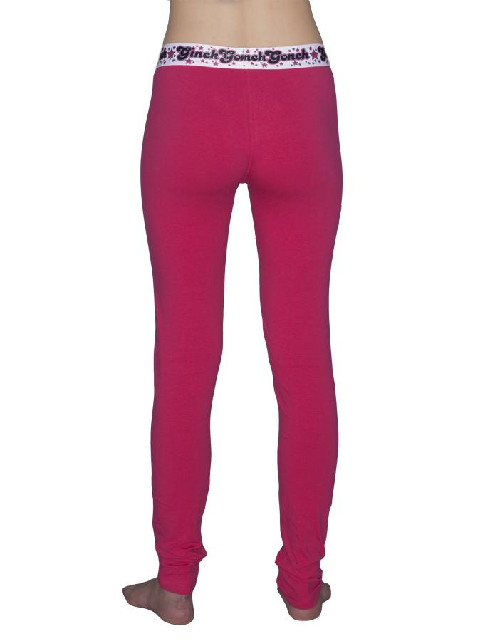 GG Ginch Gonch Mean Pink leggings women's long underwear, y front with pink fabric and black trim with black, white, and pink printed waistband back