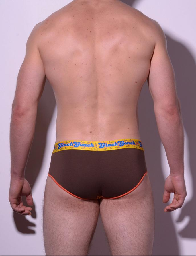 GG Ginch Gonch Lemon Heads men's underwear y front low rise brief with yellow and brown panels, orange trim, and a printed yellow waistband. back
