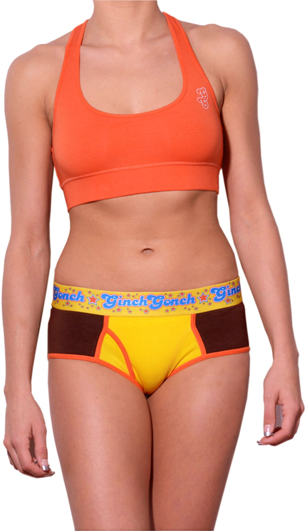 GG Ginch Gonch Lemon Heads women's underwear y front boy cut brief with yellow and brown panels, orange trim, and a printed yellow waistband. front. shown with orange sports bra.