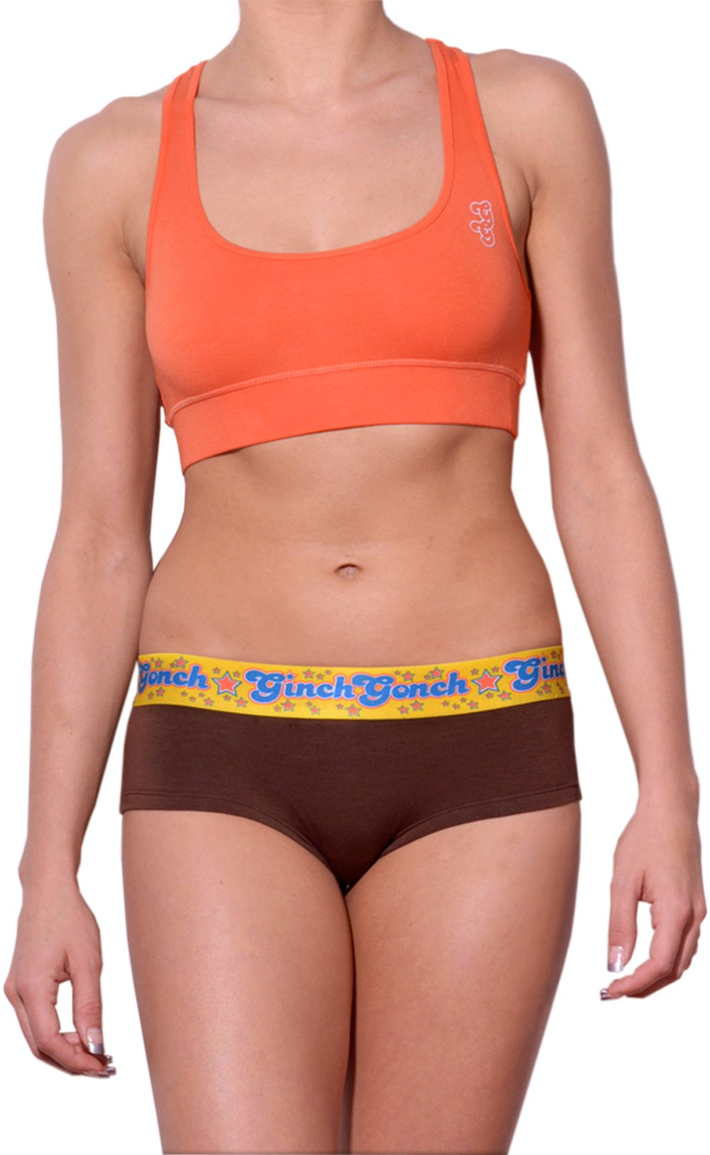 GG Ginch Gonch Lemon Heads women's cheeky boy cut underwear gogo with brown fabric, and a printed yellow waistband. front. shown with orange sports bra