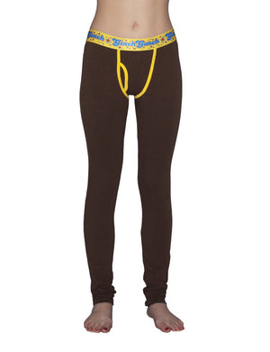 GG Ginch Gonch Lemon Heads women's long underwear y front legging trunk with brown fabric, yellow trim, and a printed yellow waistband. front.