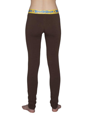 GG Ginch Gonch Lemon Heads women's long underwear y front legging trunk with brown fabric, yellow trim, and a printed yellow waistband. back