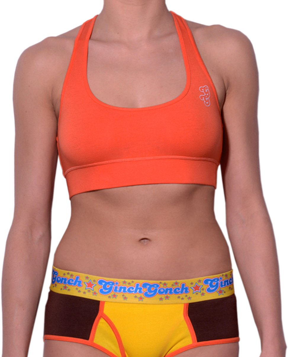 GG Ginch Gonch Lemon Heads women's sports bra orange with gg logo on upper left front shown with lemon heads brief