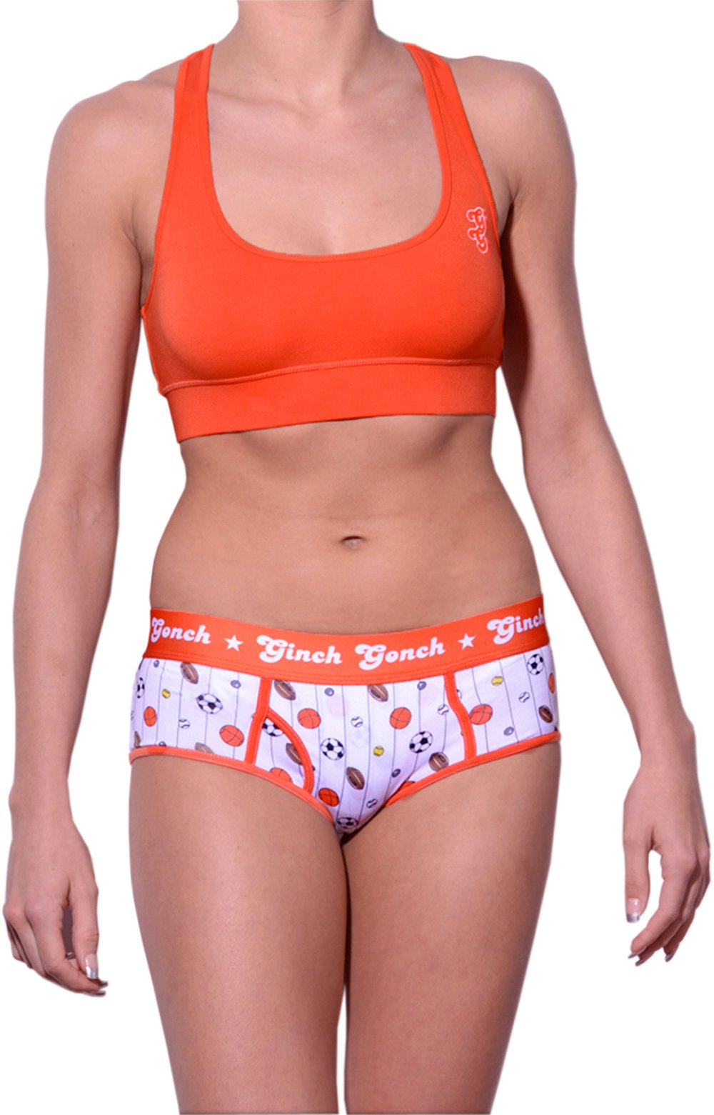 GG Ginch Gonch Hardball boy cut Brief - women's Underwear - pin striped white fabric with basketballs, footballs, soccer balls, tennis balls, and baseballs. Orange trim and y front with orange printed waistband front