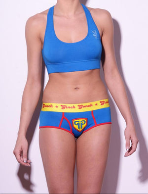 Ginch Gonch GG Ginchcredible super hero women's boy cut underwear brief blue fabric with GG logo, red trim, and yellow printed waistband front shown with blue sports bra