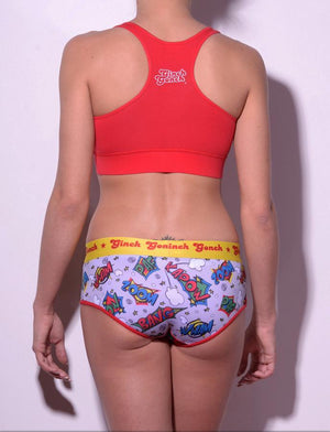GG Ginch Gonch Under-Man Y front boy cut Brief - women's Underwear comic-inspired print on gray background with cartoon words. Red trim and yellow printed waistband back shown with red sports bra