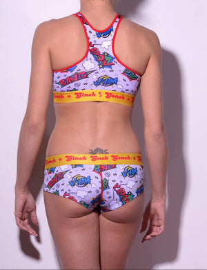 GG Ginch Gonch Under-Man boy cut Brief gogo - women's Underwear comic-inspired print on gray background with cartoon words. Red trim and yellow printed waistband back shown with matchingg sports bra