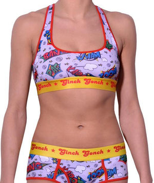 GG Ginch Gonch Under-Man sports bra - women's Underwear comic-inspired print on gray background with cartoon words. Red trim and yellow printed waistband front shown with matching brief
