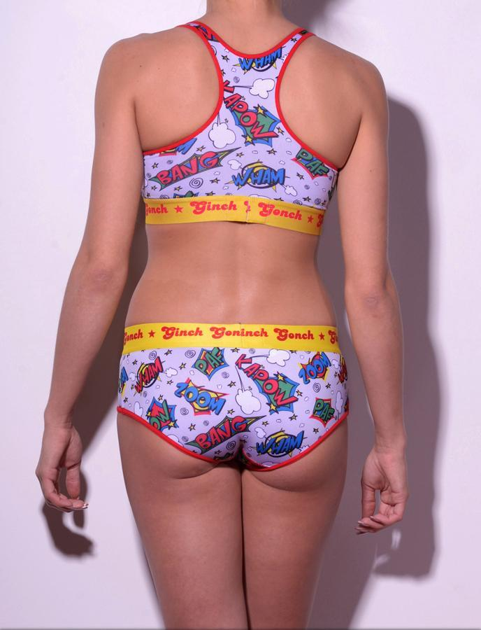 GG Ginch Gonch Under-Man sports bra - women's Underwear comic-inspired print on gray background with cartoon words. Red trim and yellow printed waistband back shown with matching brief
