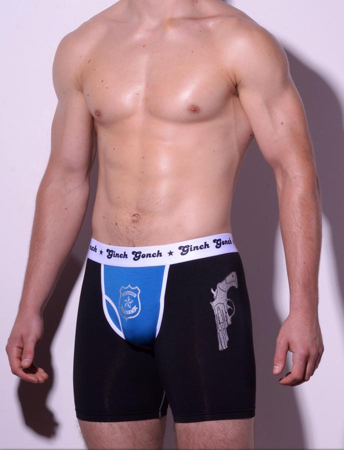 Ginch Gonch Men's Boxer Brief Underwear  Police, Book Em, black and blue panels with guns and badge. White trim and white printed waist band. Front.