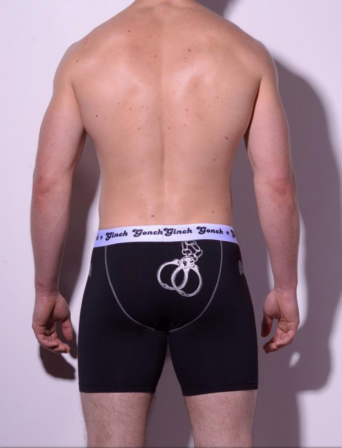 Ginch Gonch Men's Boxer Brief Underwear  Police, Book Em, black and blue panels with handcuff detail. White trim and white printed waist band. Back