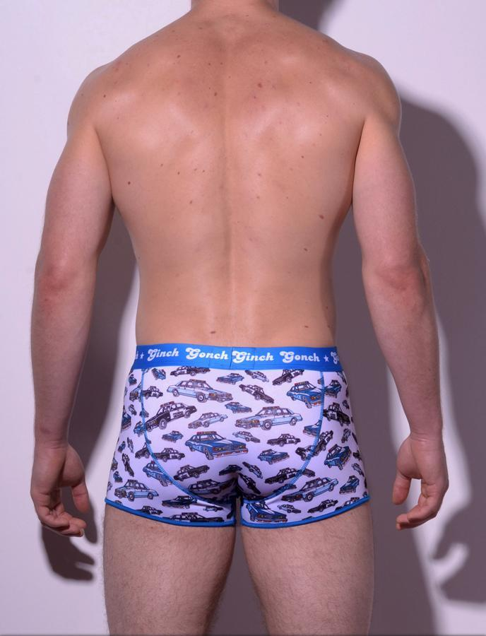 gg ginch gonch Busted boxer brief trunk y front - men's Underwear with cop cars on white fabric with blue trim and printed waistband back