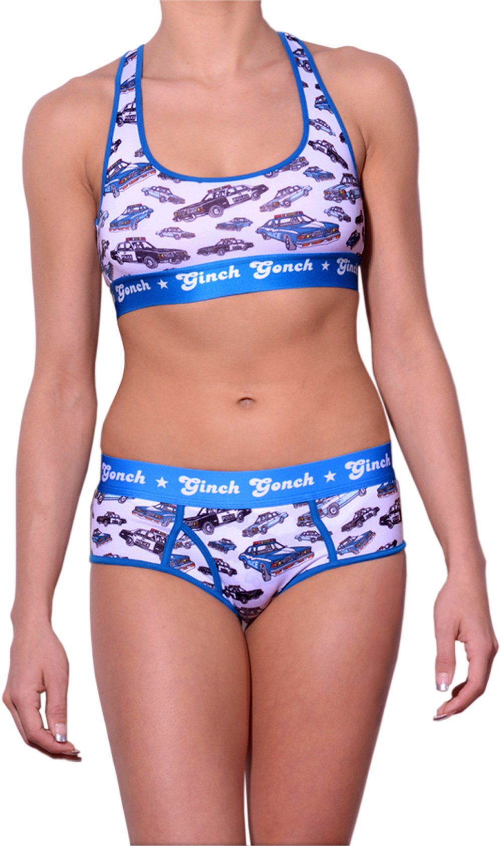 gg ginch gonch Busted boy cut brief y front - Women's Underwear with cop cars on white fabric with blue trim and printed waistband shown with matching sports bra front
