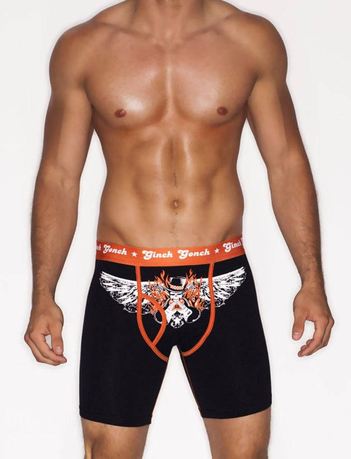Ginch Gonch Rock Me men's boxer Brief Underwear black with orange trim binding waistband front rock and roll Orange