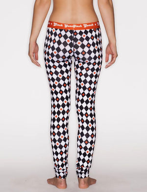 Ginch Gonch Backstage Pass Leggings - Women's Underwear black and white squares checkered orange waistband trim binding front