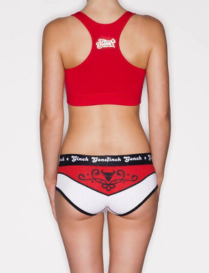 Ginch Gonch El Toro women's y front boy cut brief Women's underwear, red and white panels with bull and western detail, black trim and printed waistband back with matching red sports bra with logo on center