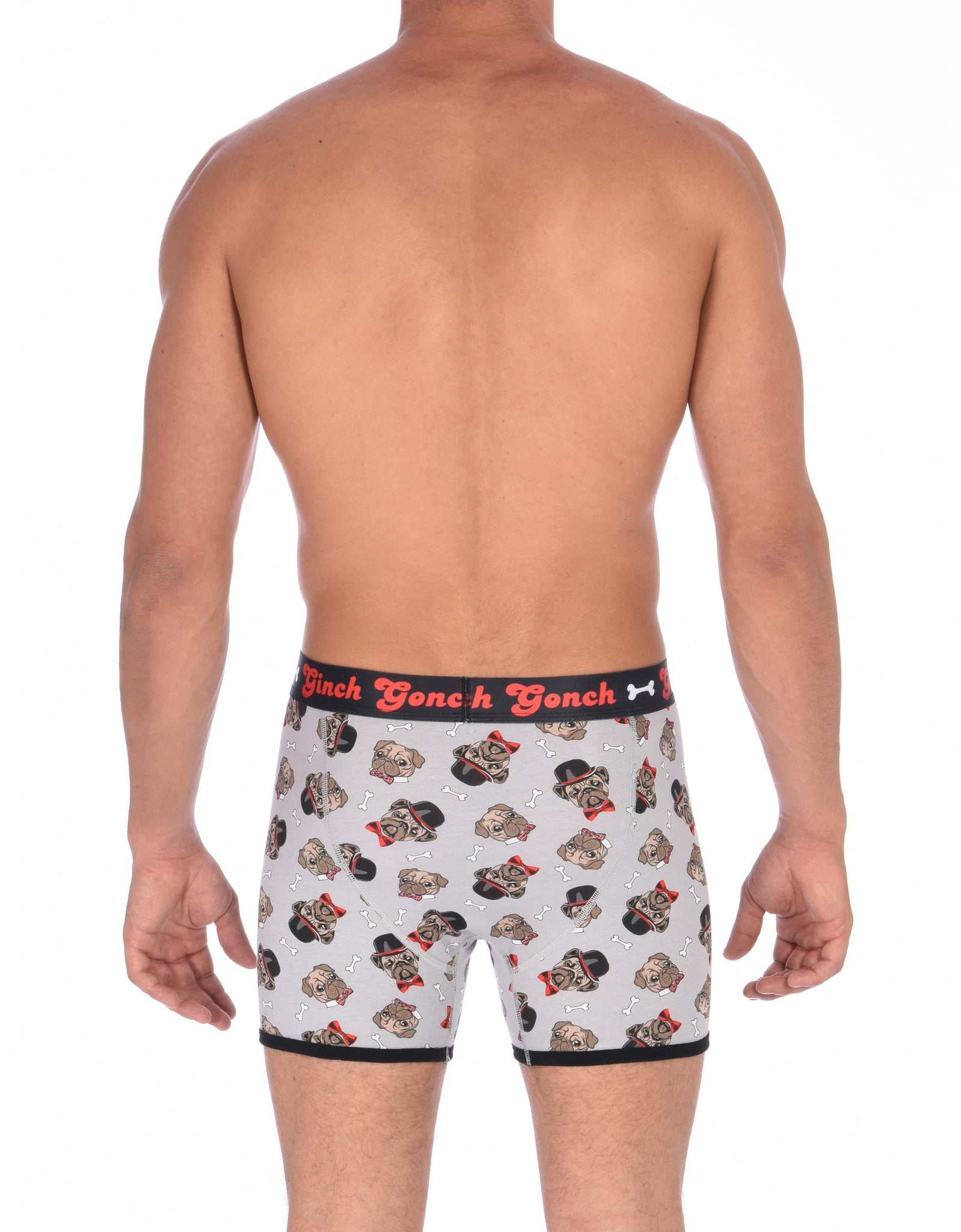GG Ginch Gonch Pug Life Boxer Brief trunk - Men's Underwear grey background with pugs with top hats and bow ties and bones. Black trim with black printed waistband back