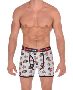 GG Ginch Gonch Pug Life Boxer Brief trunk - Men's Underwear grey background with pugs with top hats and bow ties and bones. Black trim with black printed waistband front.
