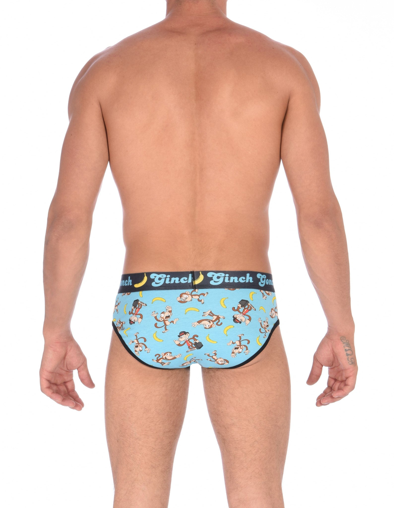 Ginch Gonch Monkey Business Men's Underwear Brief with blue background, monkeys, and bananas. Black trim and printed waistband with Ginch Gonch and bananas. Back