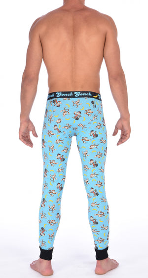 Ginch Gonch Monkey Business Men's Leggings Long Johns Underwear with blue background, monkeys, and bananas. Black trim and printed waistband with Ginch Gonch and bananas. Back.