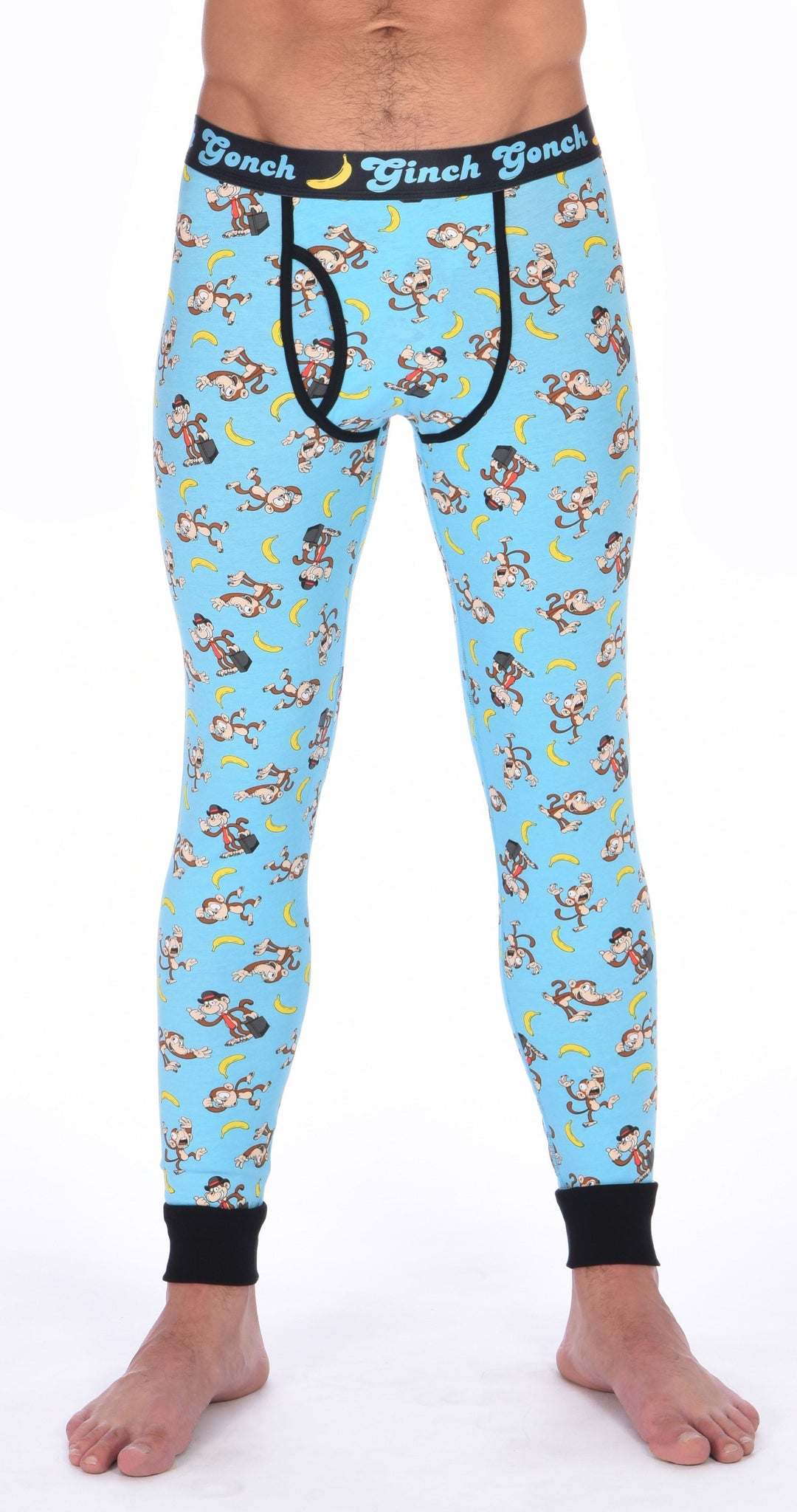 Ginch Gonch Monkey Business Men's Leggings Long Johns Underwear with blue background, monkeys, and bananas. Black trim and printed waistband with Ginch Gonch and bananas. Front.