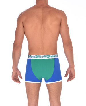 Ginch Gonch Blue Lagoon men's boxer briefs trunks y front blue and green. panels with white trim and printed waistband back