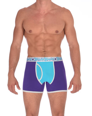 GG Ginch Gonch Purple Haze Boxer Brief y front - Men's Underwear purple and aqua panels with grey trim and silver printed waistband front