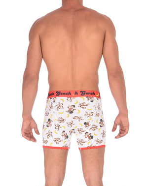 GG Ginch Gonch Gone Bananas Boxer Brief men's underwear trunk y front white fabric with monkeys and bananas red trim and red printed waistband back