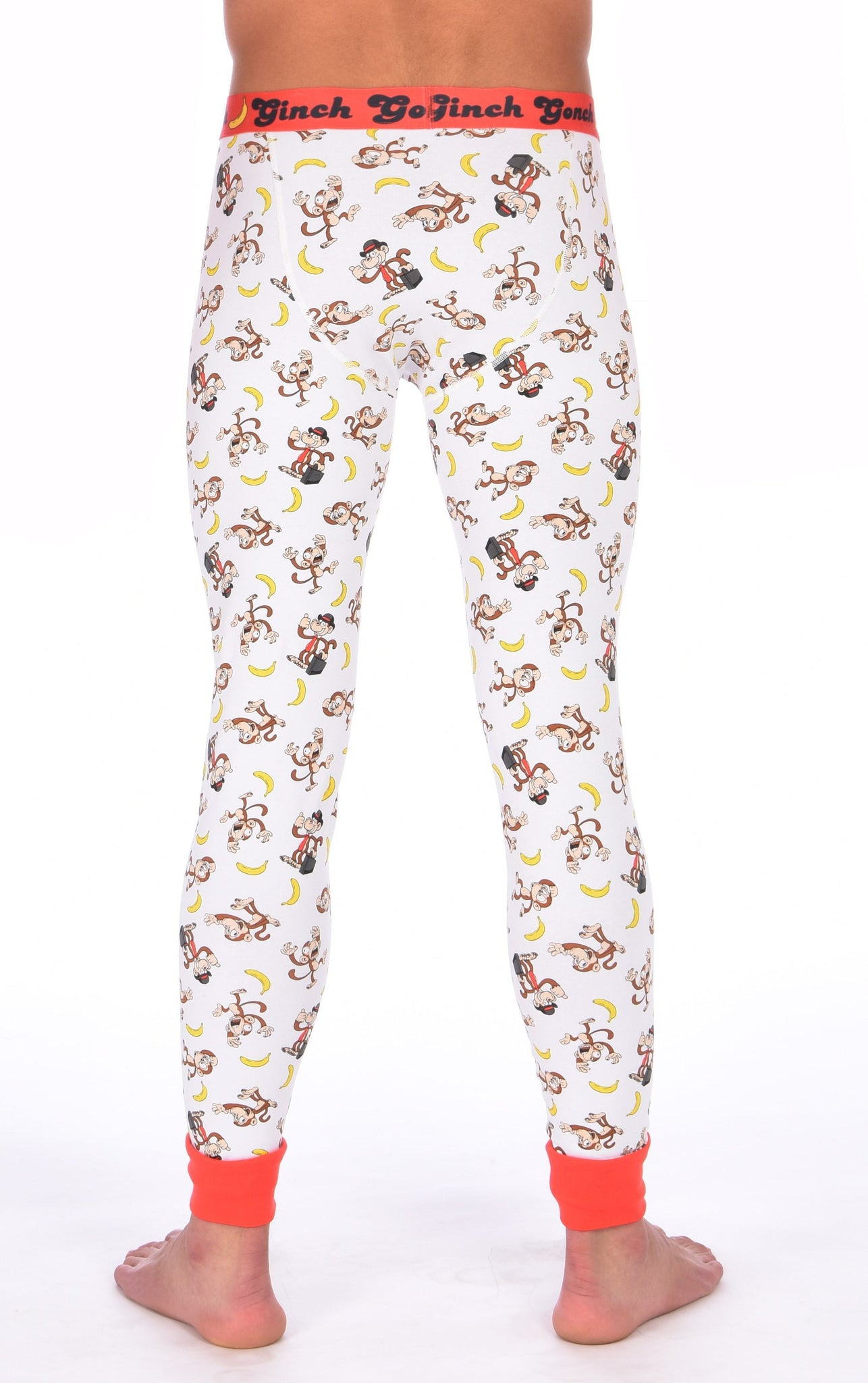 GG Ginch Gonch Gone Bananas leggings long johns men's long underwear white fabric with monkeys and bananas red trim and red printed waistband back
