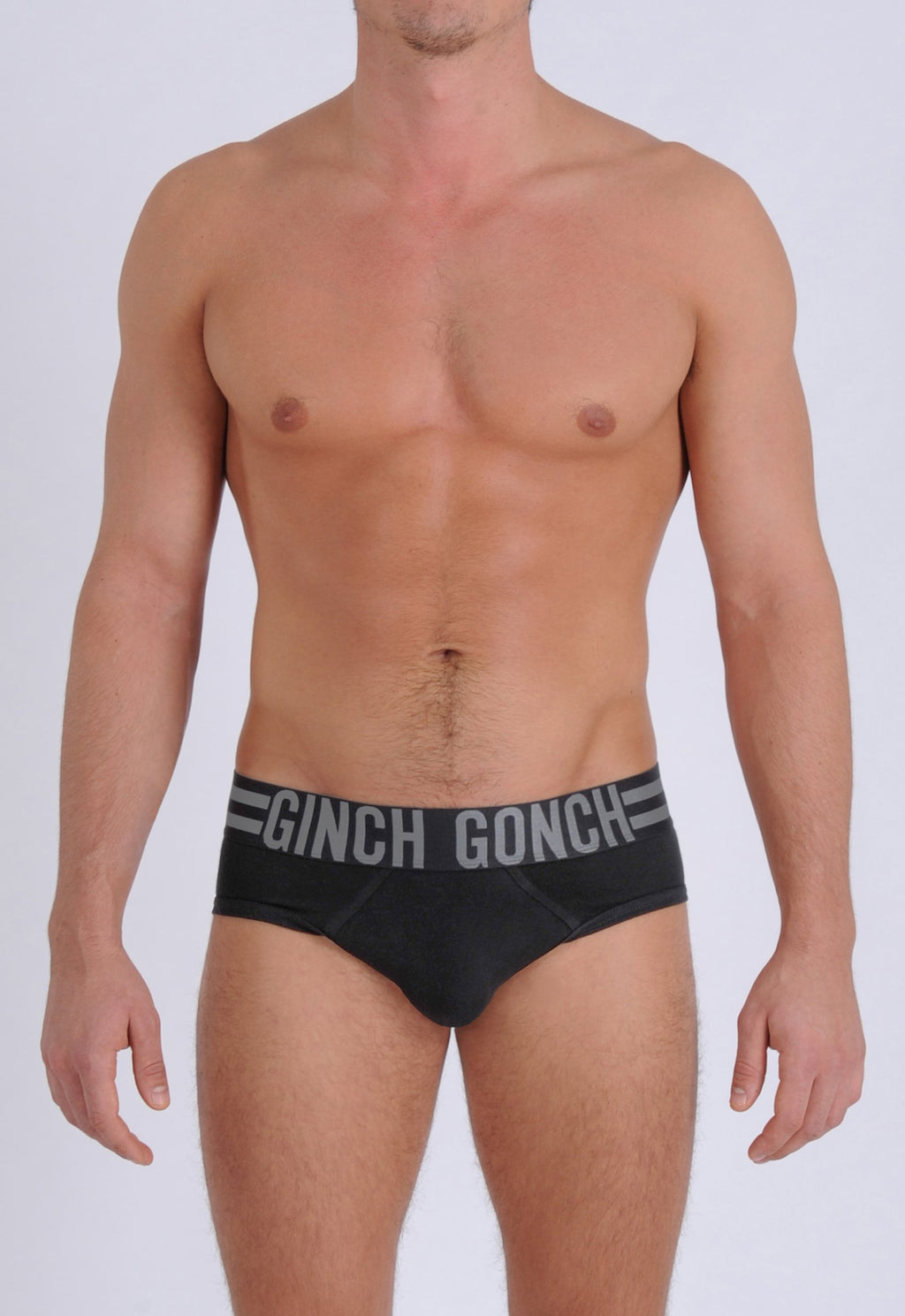 Ginch Gonch Men's Signature Series Underwear - Low Rise Brief Black thick waistband front