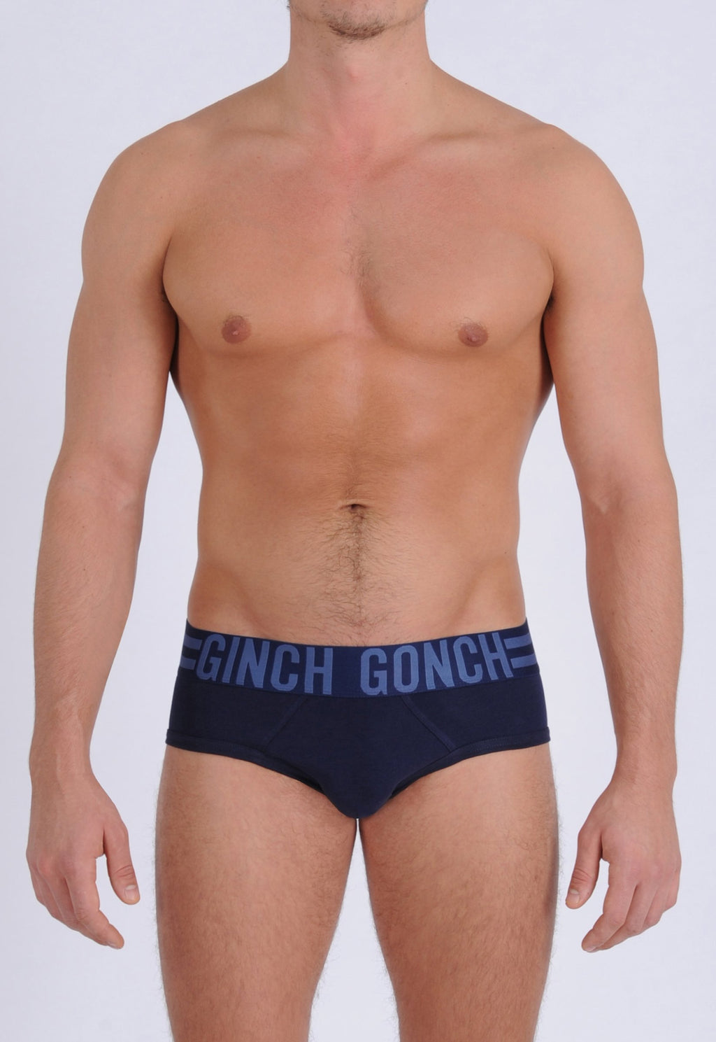 Ginch Gonch Men's Signature Series Underwear - Low Rise Brief navy printed thick waistband front