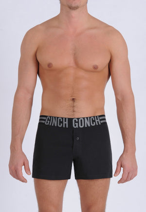 Ginch Gonch Men's Signature Series - Boxer Shorts - Black button front boxers front