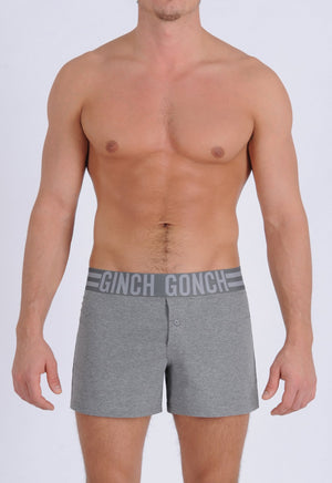 Ginch Gonch Men's Signature Series - Boxer Shorts - Grey button front boxers front