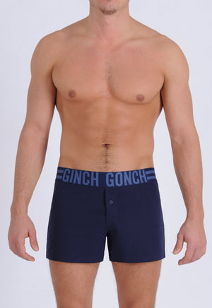 Ginch Gonch Men's Signature Series - Boxer Shorts - Navy button front boxers front