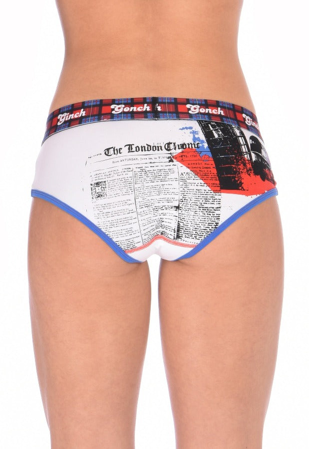Ginch Gonch Women's Brief London Calling blue and red underwear white background plaid waistband black and blue trim binding big ben london eye back