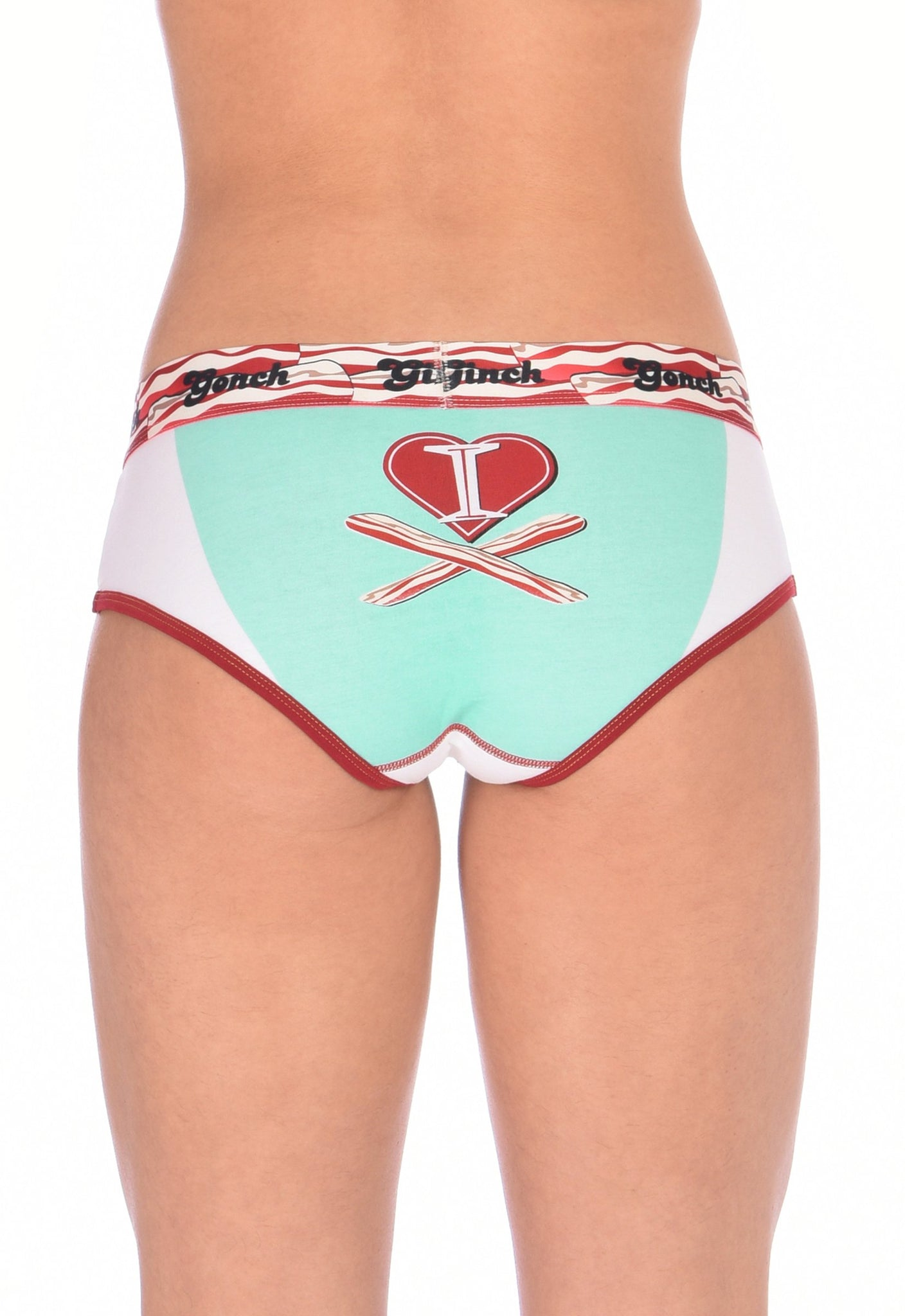 I Love Bacon Brief Ginch Gonch Women's underwear boy cut y front with white teal and red, and bacon detail and waistband back