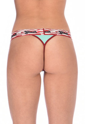 I Love Bacon Ginch Gonch Women's underwear thong with white teal and red, and bacon detail and waistband back