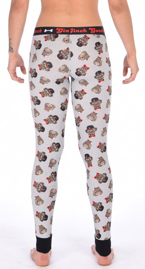GG Ginch Gonch Pug Life leggings long johns - women's Underwear grey background with pugs with top hats and bow ties and bones. Black trim and y front with black printed waistband back