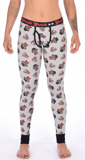 GG Ginch Gonch Pug Life leggings long johns - women's Underwear grey background with pugs with top hats and bow ties and bones. Black trim and y front with black printed waistband front.