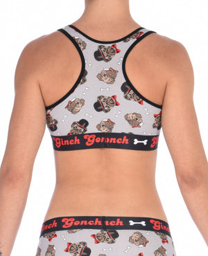 GG Ginch Gonch Pug Life sports bra - women's Underwear grey background with pugs with top hats and bow ties and bones. Black trim with black printed band back