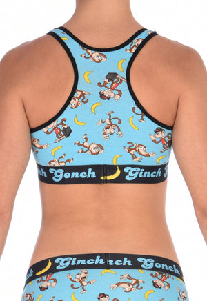 Ginch Gonch Monkey Business Women's Sports Bra Underwear with blue background, monkeys, and bananas. Black trim and printed waistband with Ginch Gonch and bananas. Back.