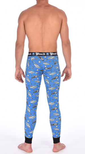 Ginch Gonch GG Patrol long john legging men's long underwear y front blue fabric with cop cars, badges, hand cuffs, and guns. Black trim and black printed waistband back