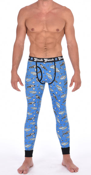 Ginch Gonch GG Patrol long john legging men's long underwear y front blue fabric with cop cars, badges, hand cuffs, and guns. Black trim and black printed waistband front.