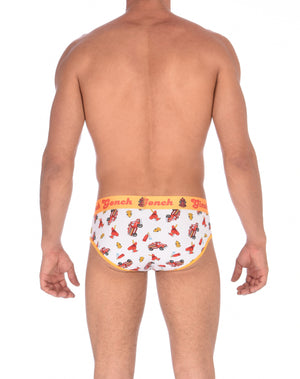 Ginch Gonch GG Fire Fighters Low Rise Brief mens y front underwear white fabric with fire engines hats and hydrants, yellow trim and yellow printed waistband back