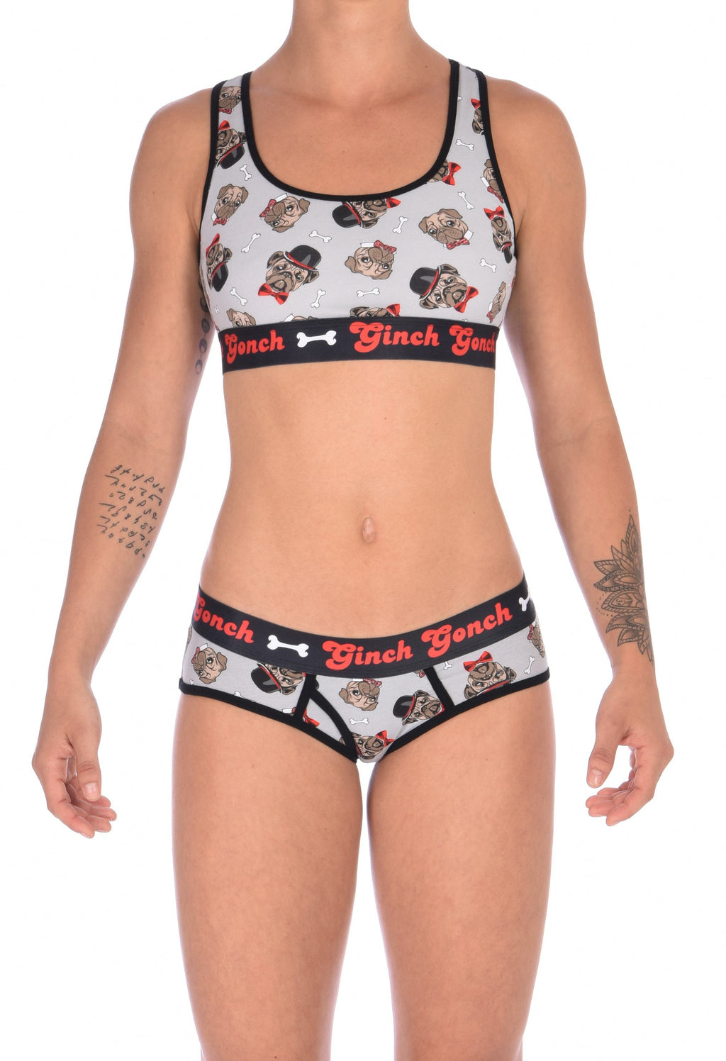 GG Ginch Gonch Pug Life boy cut brief y front - women's Underwear grey background with pugs with top hats and bow ties and bones. Black trim with black printed waistband front. Shown with matching sports bra