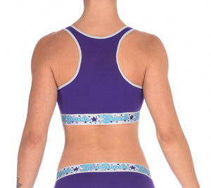 GG Ginch Gonch Purple Haze Sports Bra - Women's Underwear purple fabric with grey trim and silver printed band back
