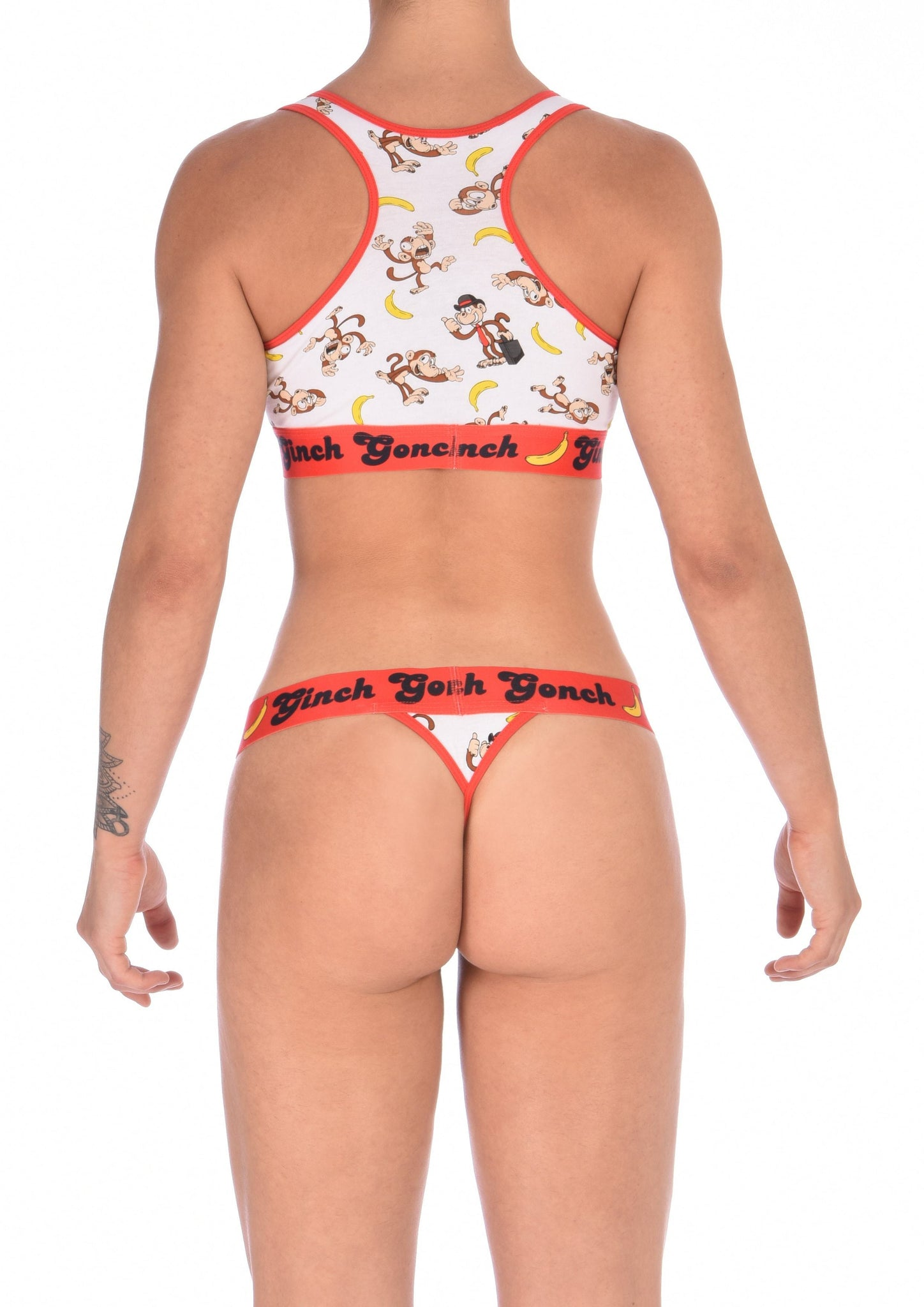 GG Ginch Gonch Gone Bananas thong women's underwear white fabric with monkeys and bananas red trim and red printed waistband back shown with matching sports bra