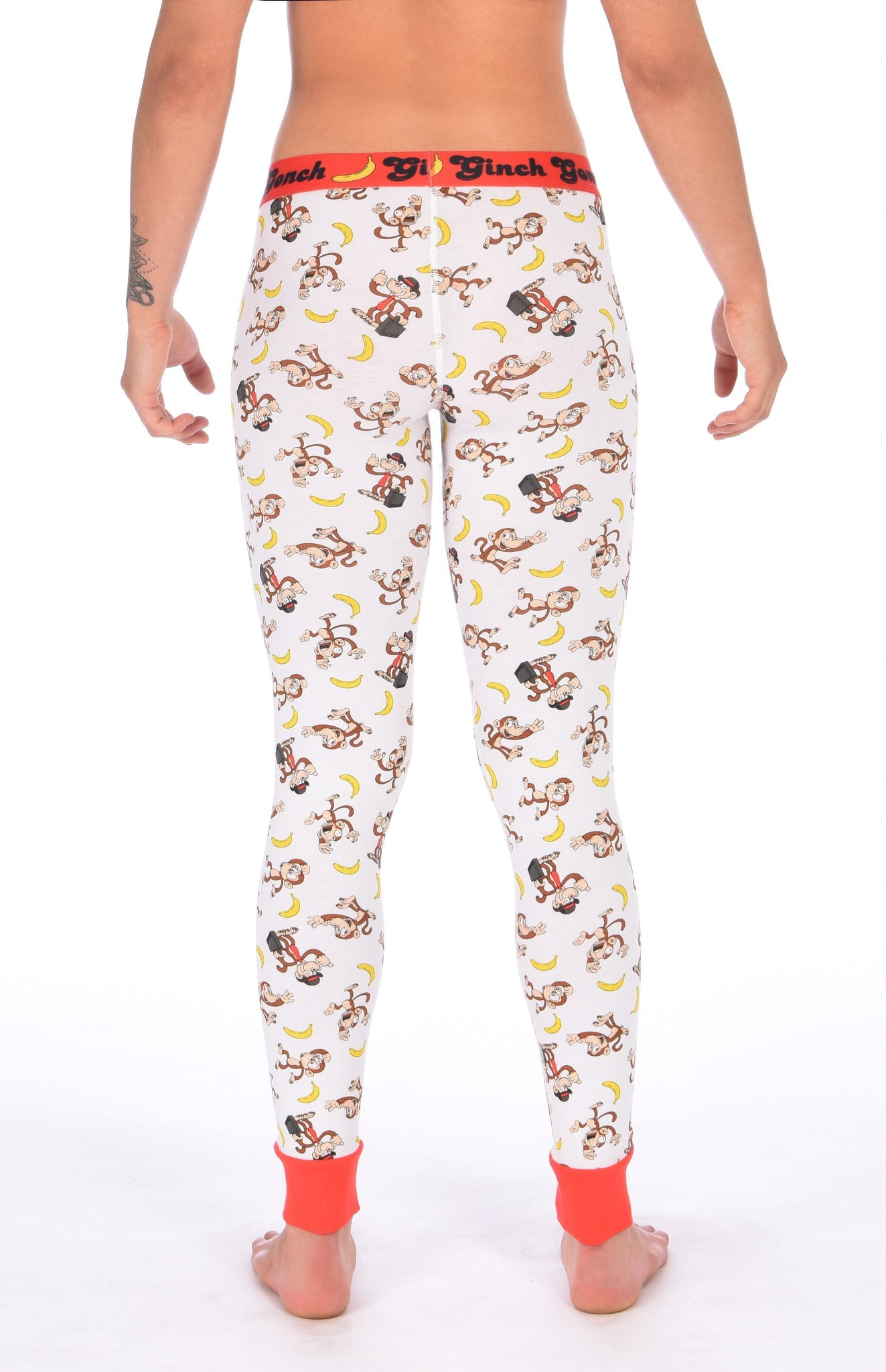 GG Ginch Gonch Gone Bananas leggings long johns men's long underwear white fabric with monkeys and bananas red trim and red printed waistband y front back
