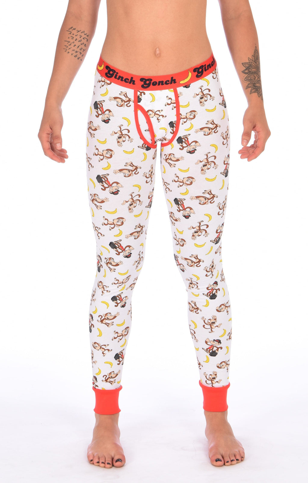 GG Ginch Gonch Gone Bananas leggings long johns men's long underwear white fabric with monkeys and bananas red trim and red printed waistband y front